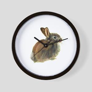 Baby Rabbit Portrait in Pastels Wall Clock