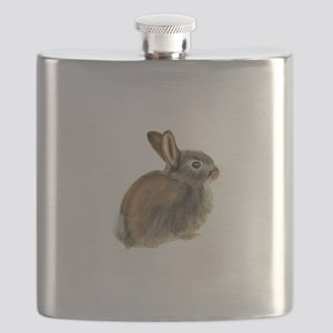Baby Rabbit Portrait in Pastels Flask