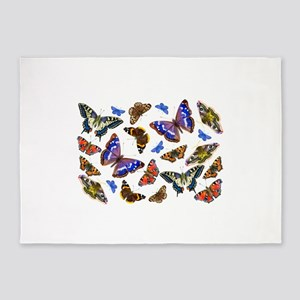 Butterflies and Moths Watercolours 5'x7'Area Rug