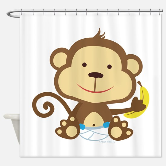 Little Boy Monkey with banana Shower Curtain