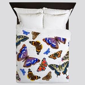 Butterflies and Moths Watercolours Queen Duvet