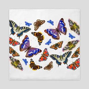 Butterflies and Moths Watercolours Queen Duvet