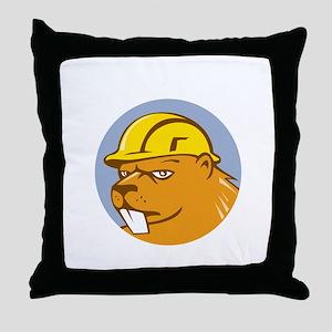 Beaver Construction Worker Circle Cartoon Throw Pi