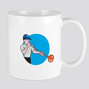 Glassblower Glassblowing Cartoon Circle Mugs