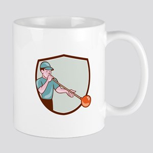 Glassblower Glassblowing Cartoon Shield Mugs