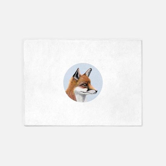 Red Fox Portrait Watercolour 5'x7'Area Rug
