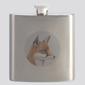 Red Fox Portrait Watercolour Flask