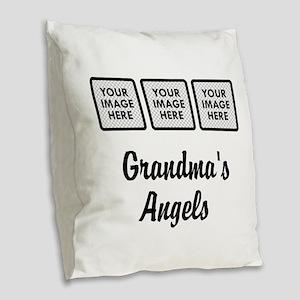 CUSTOM Grandmas Angels - 3 Grandkids Burlap Throw
