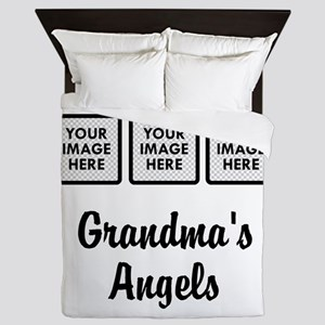 CUSTOM Grandmas Angels - 3 Grandkids Queen Duvet