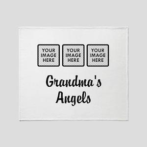 CUSTOM Grandmas Angels - 3 Grandkids Throw Blanket