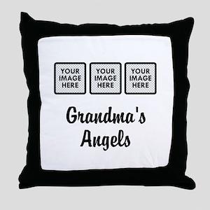 CUSTOM Grandmas Angels - 3 Grandkids Throw Pillow