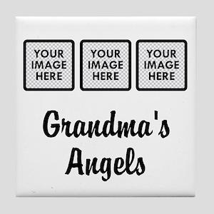 CUSTOM Grandmas Angels - 3 Grandkids Tile Coaster