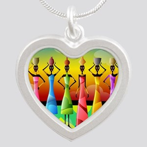 African American Women Silver Heart Necklace