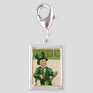 St patricks Day Silver Portrait Charm