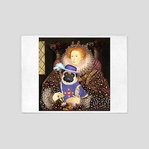 Queen-Sir Pug (17) 5'x7'Area Rug