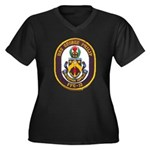 USS GEORGE P Women's Plus Size V-Neck Dark T-Shirt