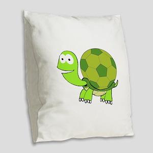Soccer Turtle Burlap Throw Pillow