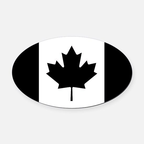 Canada: Black Military Flag II Oval Car Magnet