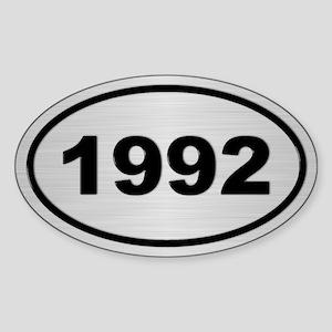 1992 Steel Grey Oval Vinyl Sticker