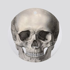 Vintage Human Skull Ornament (Round)