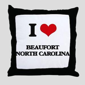 I love Beaufort North Carolina Throw Pillow