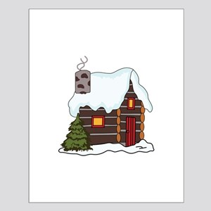 LOG CABIN IN WINTER Posters