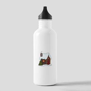 LOG CABIN IN WINTER Water Bottle