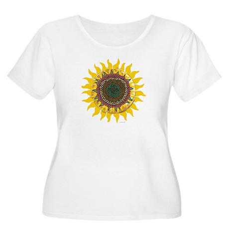Multi-Colored Sunflower Women's Plus Size Scoop Ne