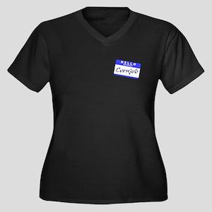 Conjob Women's Plus Size V-Neck Dark T-Shirt