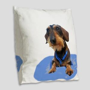 Wirehair Dachshund Burlap Throw Pillow