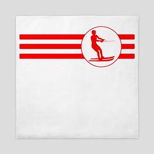 Water Skier Stripes (Red) Queen Duvet