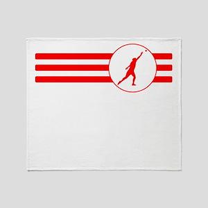 Shot Put Stripes (Red) Throw Blanket