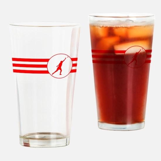 Shot Put Stripes (Red) Drinking Glass
