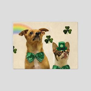 St. Patricks Day Chihuahuas 5'x7'Area Rug