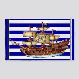 Pirate Ship with Stripes Area Rug