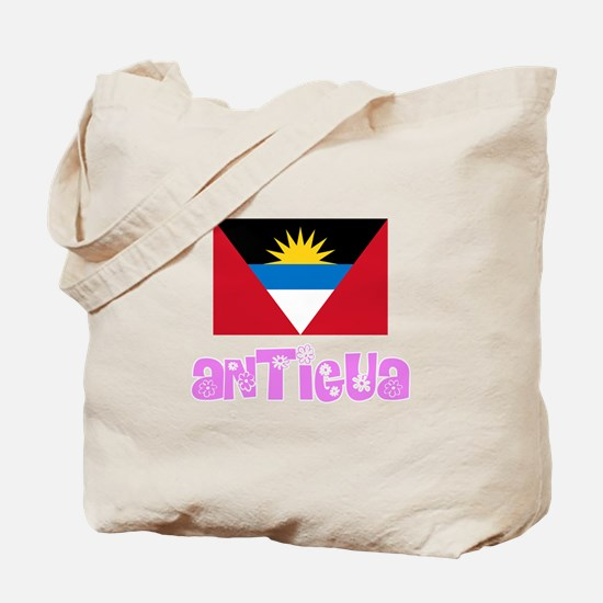 Antigua Flag Pink Flower Design Tote Bag