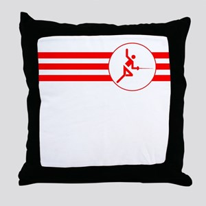 Fencer Stripes (Red) Throw Pillow