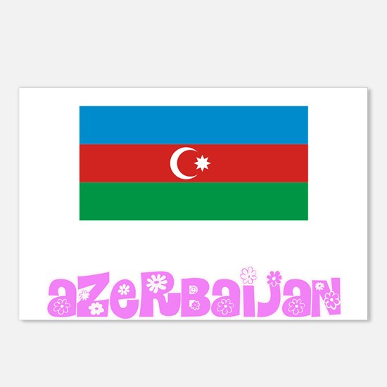 Azerbaijan Flag Pink Flow Postcards (Package of 8)