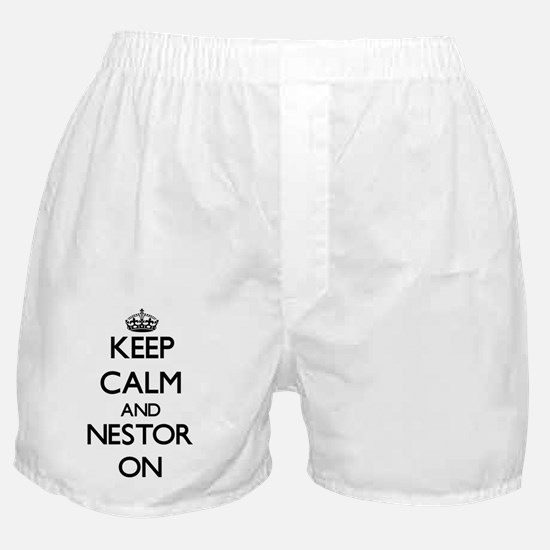 Keep Calm and Nestor ON Boxer Shorts