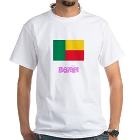 Benin Flag Pink Flower Design T-Shirt