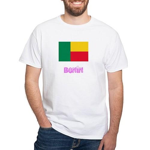 Benin Flag Pink Flower Design T-Shirt