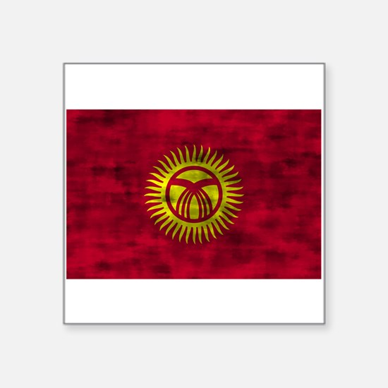 Distressed Kyrgyzstan Flag Sticker