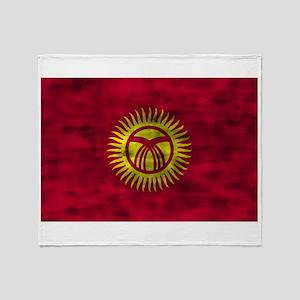 Distressed Kyrgyzstan Flag Throw Blanket