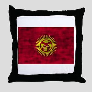 Distressed Kyrgyzstan Flag Throw Pillow