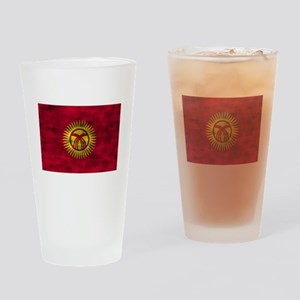 Distressed Kyrgyzstan Flag Drinking Glass