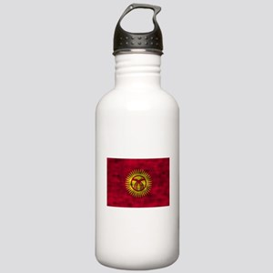 Distressed Kyrgyzstan Flag Water Bottle