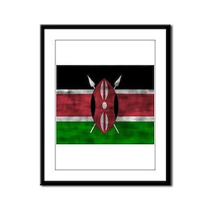 Distressed Kenya Flag Framed Panel Print