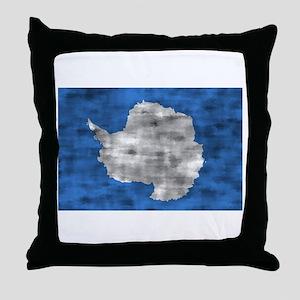 Distressed Antarctica Flag Throw Pillow