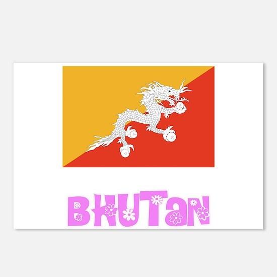 Bhutan Flag Pink Flower D Postcards (Package of 8)