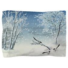 Magpie Winter Landscape Pillow Sham